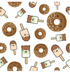 Seamless pattern cute kawaii styled ice cream and vector