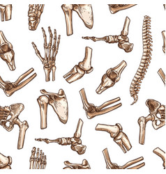 seamless pattern human body bones sketch vector image vector image