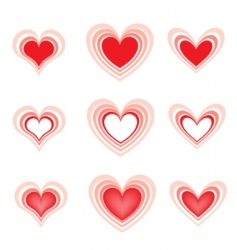 set of the beautiful hearts2 vector image vector image
