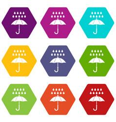 umbrella and rain icon set color hexahedron vector image vector image
