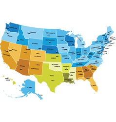 usa map with names of states vector image vector image