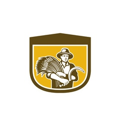 Wheat Farmer With Scythe and Crop Harvest Retro vector image vector image