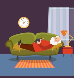 Old man sleeping on sofa with book elderly vector