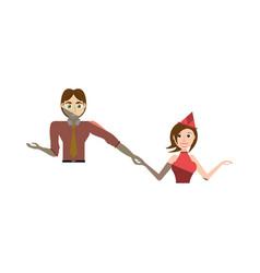 cartoon couple dancing cheerful vector image