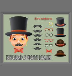 Mustache bow glasses top hat gentleman victorian vector