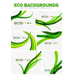 Collection of nature green eco abstract vector