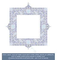 Square flower decorative ornaments - blue vector