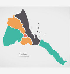 Eritrea map with states and modern round shapes vector