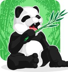 Panda Eating Bamboo Leaves vector image