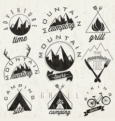 Mountain expedition symbols and signs vector