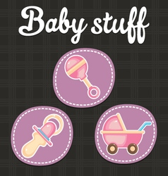 Baby scrapbook icon collection vector