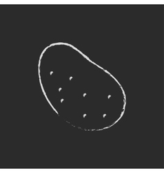 Potato icon drawn in chalk vector