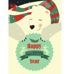 Polar bear wishing you merry christmas vector