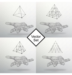 Set triangle pyramid on the arm the hand holding vector