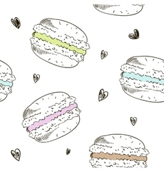 Seamless pattern with doodle macaroons vector image