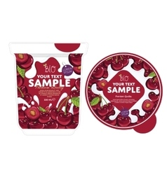Cherry yogurt packaging design template vector