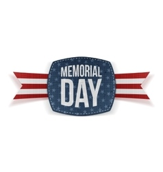Memorial day realistic emblem and ribbon vector