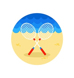 Badminton racket icon summer vacation vector