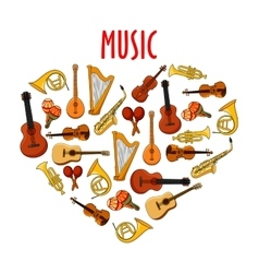 Heart with classical musical instruments symbol vector image