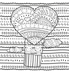 Adult coloring page heart-shaped hot air balloon vector