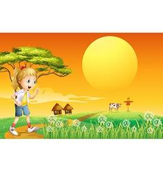 A girl going to the farm vector image vector image