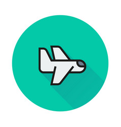 airplane icon on round background vector image vector image