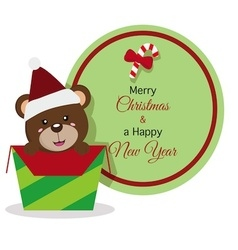 Bear christmas icon with christmas banner vector