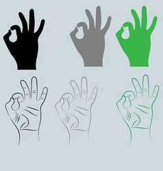 Black and other color hand with sign ok vector