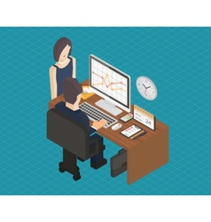 Business isometric 3d workplace vector image