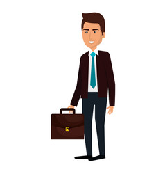 businessman with portfolio avatar character icon vector image
