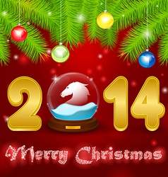 Christmas background globe with horse vector image vector image