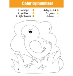 Coloring page with chicken color by numbers vector