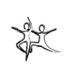 Contour people practicing dancing icon vector