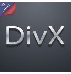 Divx video format icon symbol 3d style trendy vector