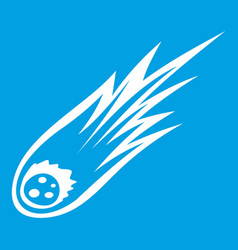 falling meteor with long tail icon white vector image