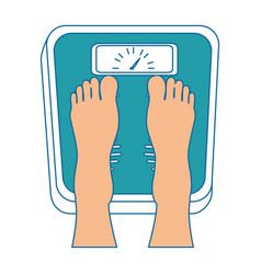 Feets with scale weight measure icon vector