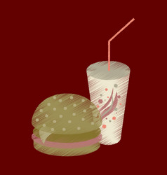 flat shading style icon burger and soda vector image