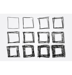 hand drawn doodle squares design elements vector image