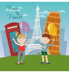 Happy children with balloons on travel vacations vector