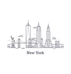 New york city outline skyline nyc line silhouette vector