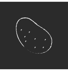 Potato icon drawn in chalk vector