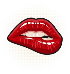 red lip biting vector image vector image