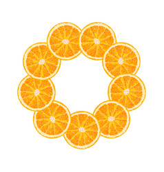 Round frame of orange slice citrus frame vector