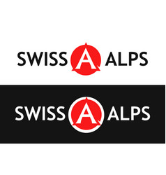 Round logo of swiss alps vector