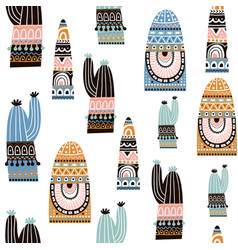 seamless pattern with cactuse in tribal style vector image
