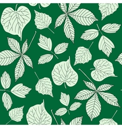 Seamless pattern with hand-drawn leaves vector image