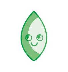 Silhouette kawaii cute thinking leaf icon vector