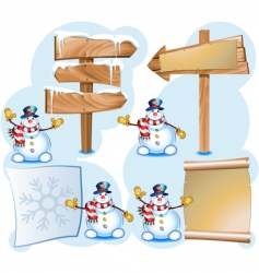 snowman and signpost vector image vector image