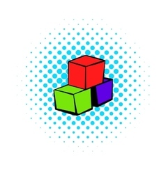 Three colored cubes icon comics style vector image
