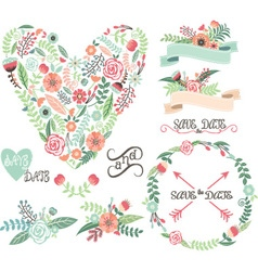 Wedding floral graphic elements labels ribbons vector